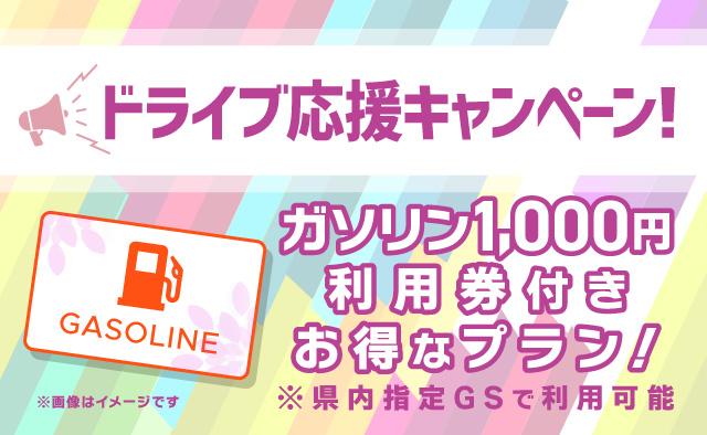 ドライブ応援キャンペーン ! ガソリン1000円利用券付きお得なプラン !