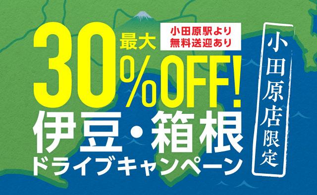 最大30%OFF ! 伊豆・箱根ドライブキャンペーン ※小田原駅より無料送迎あり