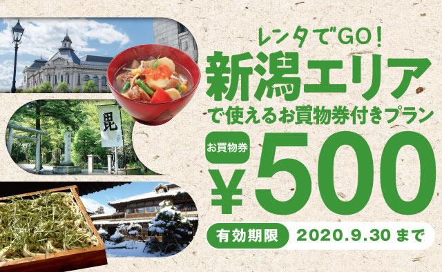 レンタでGO!新潟エリアで使える500円お買物券付きプラン